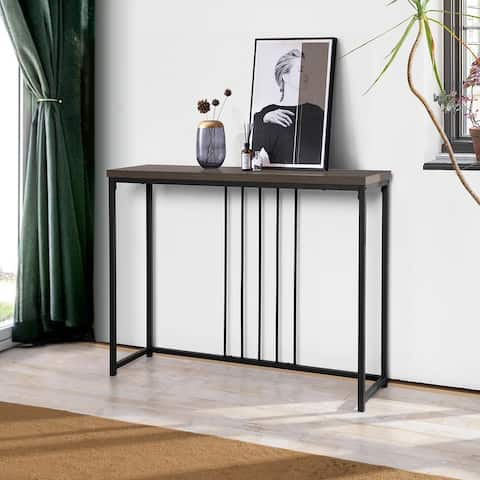 Furniture R Brown Metal Wood Console Table