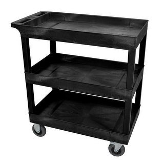 "OF-EC111SP5-B - Offex 18"" x 32"" Three Shelves Tub Cart with SP5 Casters - Black"