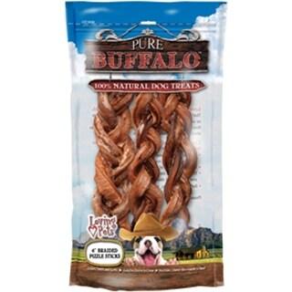 "Pure Buffalo 6"" Braided Bully Stick Dog Treat 3/Pkg-"