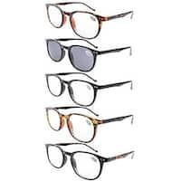 Eyekepper 5-Pack Spring Hinges80's Reading Glasses Includes Sun Readers +0.75