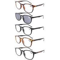 Eyekepper 5-Pack Spring Hinges80's Reading Glasses Includes Sun Readers +1.00