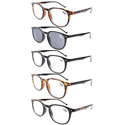 Eyekepper 5-Pack Spring Hinges80's Reading Glasses Includes Sun Readers +2.00