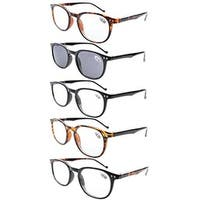Eyekepper 5-Pack Spring Hinges80's Reading Glasses Includes Sun Readers +3.50
