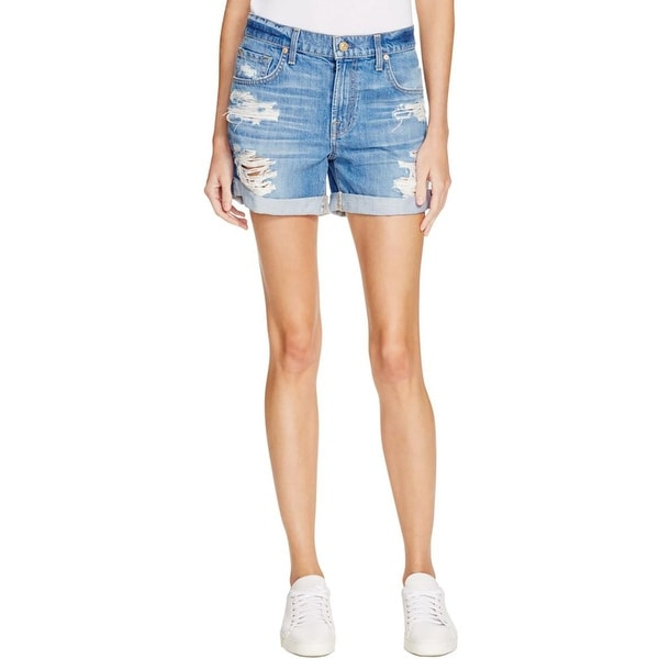 7 For All Mankind Womens Denim Shorts Destroyed Cuffed