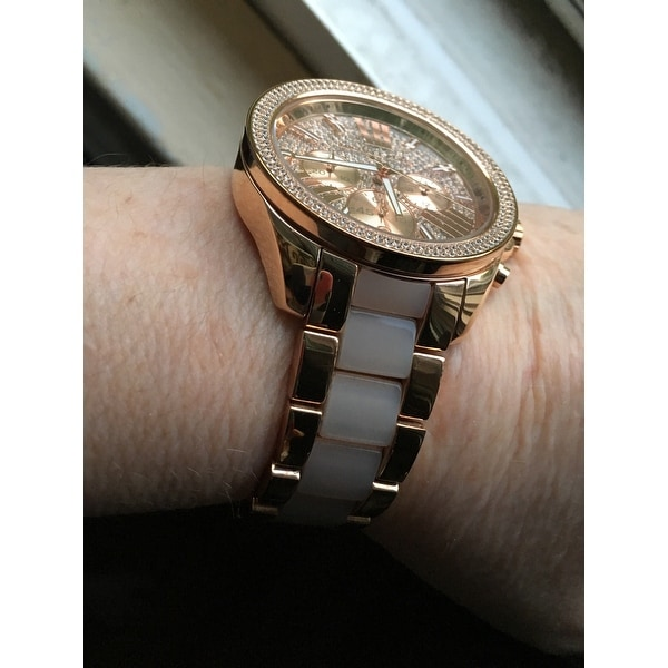 ac38ff48345c Shop Michael Kors Women s MK6096  Wren  Chronograph Crystal Rose Gold Tone  Stainless Steel Watch - Pink - Free Shipping Today - Overstock - 9753605