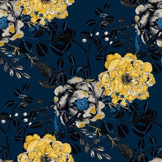 Vintage Navy Blue Botanical Floral Removable Wallpaper - 24'' inch x 10'ft