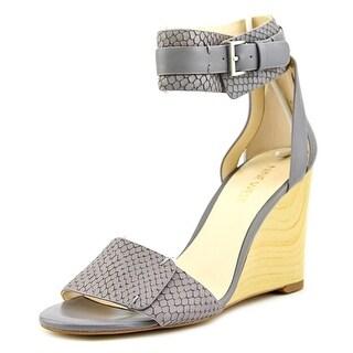 Nine West Finula Women Open Toe Leather Gray Wedge Sandal