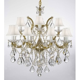Swarovski Crystal Trimmed Chandelier Lighting With White Shades