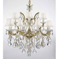 Swarovski Crystal Trimmed Chandelier Lighting With White Shades