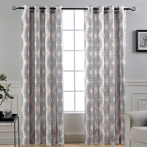 DriftAway Adrianne Pastel Damask Room Darkening Curtain Panel Pair