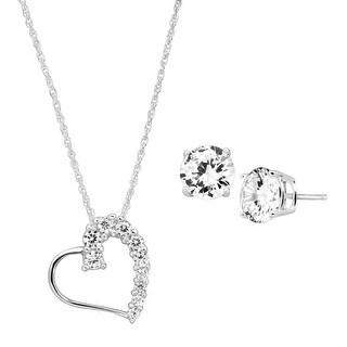 Heart Pendant & Stud Earrings Set with Cubic Zirconia in Sterling Silver