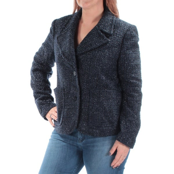 9043a753bfcd Shop MICHAEL KORS Womens Navy Blazer Wear To Work Jacket Size: 10 - On Sale  - Free Shipping On Orders Over $45 - Overstock - 21239460