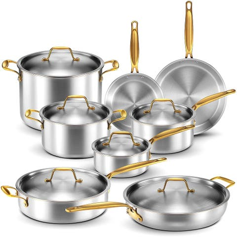 Legend 5-ply Stainless Steel and Copper Core 14-piece Cookware Set - Gold