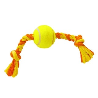 Anima Yellow Tennis Ball Toss Rope Tug and Fetch Pet Dog Toy