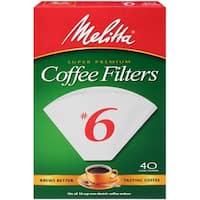 Melitta Super Premium #6 Cone Paper Coffee Filters White, 40 Count, 2 Pack