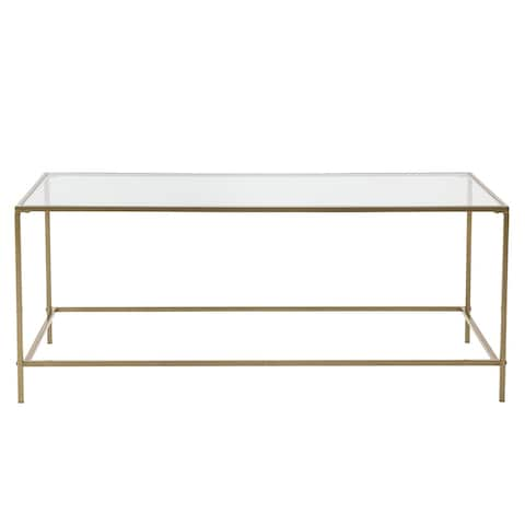 """HomeRoots 43.76"""" X 20.76"""" X 17.88"""" Coffee Table in Clear Glass with Brass Base - 43.76"""" X 20.76"""" X 17.88"""""""