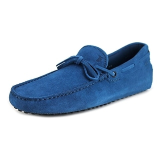 Tod's New Laccetto Occh. New Gommini 122 Men Moc Toe Suede Blue Loafer