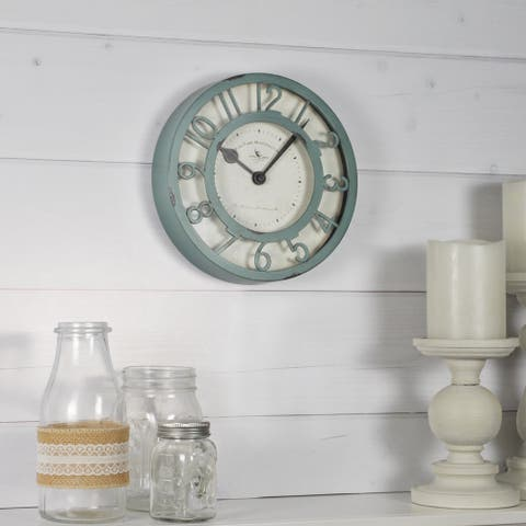 FirsTime & Co.® Sage Raised Farmhouse Wall Clock, American Crafted, Sage Green, Plastic, 8 x 2 x 8 in - 8 x 2 x 8 in