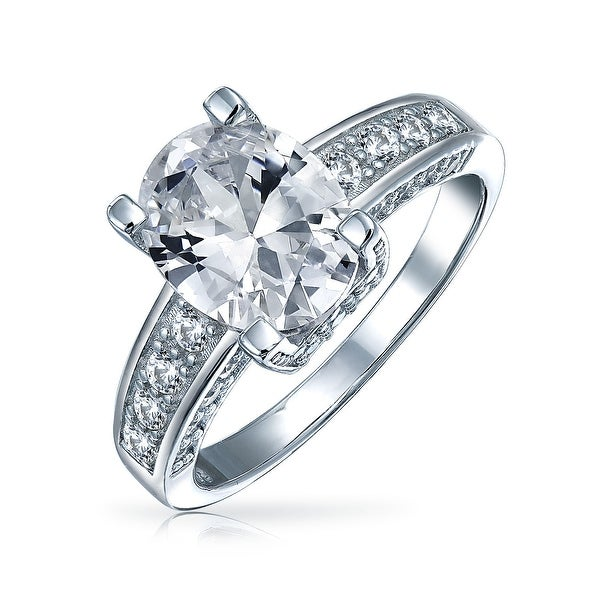 33d971d9bb Shop 3 CT Cubic Zirconia 925 Sterling Silver Brilliant Cut AAA CZ Oval  Solitaire Engagement Promise Ring 3 Sided Pave Band - On Sale - Free  Shipping On ...