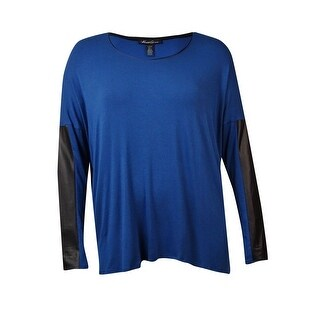 Kenneth Cole New York Women's Faux Leather Trim Amalia Top - lapis talc - l