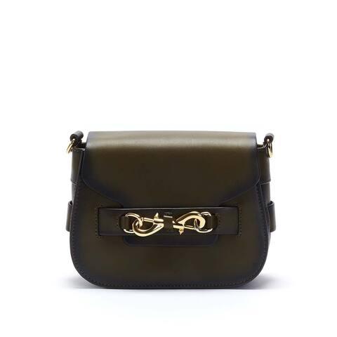 Rebecca Minkoff Florence Saddle Crossbody Bag Olive/Gold - Olive - Small