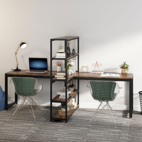 """90"""" Two Person Computer Desk with Shelves"""
