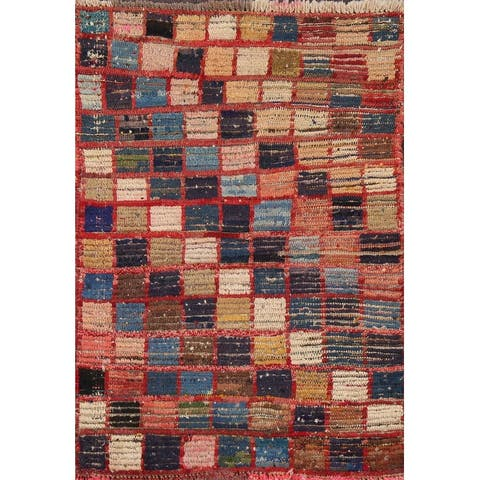 """Checkered Gabbeh Persian Wool Area Rug Hand-knotted Foyer Size Carpet - 2'5"""" x 3'5"""""""