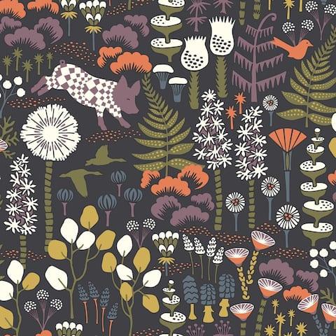 Hoppet Folk Multicolor Scandinavian Wallpaper - 21in x 396in x 0.025in