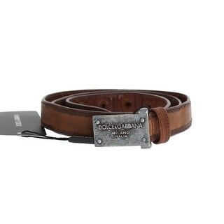 Dolce & Gabbana Brown Leather Logo Antique Buckle Belt - 95-cm-38-inches