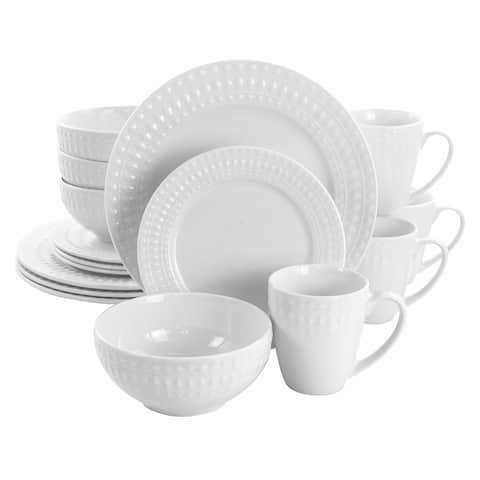 Elama Cara 16 Piece Round Porcelain Dinnerware Set in White