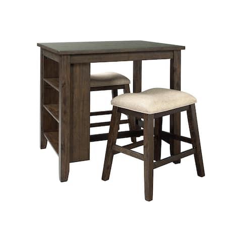 Rokane Casual Rectangular Dining Room Counter Table Set of 3, Brown/Tan