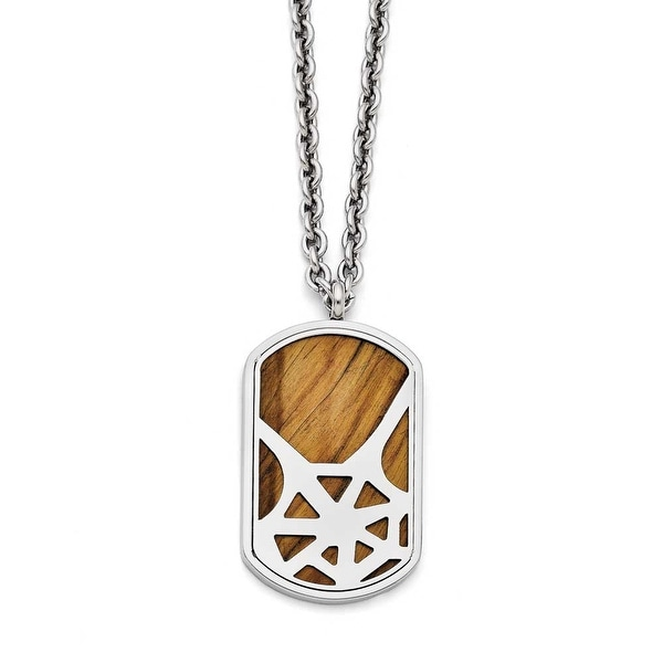 Chisel Stainless Steel Tiger's Eye Polished Dogtag Necklace - 24 in
