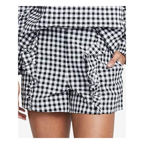 RACHEL ROY Womens Black Ruffled Gingham Short Size 2