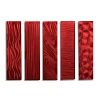 Statements2000 Set of 5 Red Metal Wall Art Accents by Jon Allen - 5 Easy Pieces Red