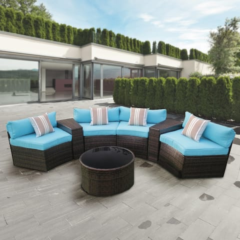 ALEKO 7-piece Patio Furniture Outdoor Half-moon Sofa Set