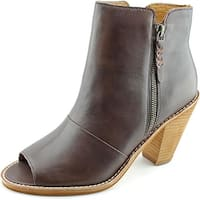 Corso Como Tameka Women  Peep-Toe Leather Brown Ankle Boot