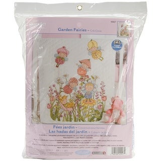 "Garden Fairies Crib Cover Stamped Cross Stitch Kit-34""X43"""