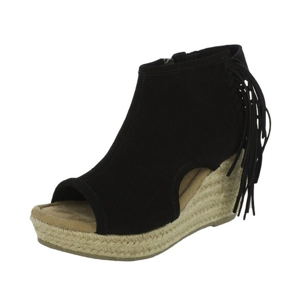 Shop Minnetonka Shoes Womens Blaire Jute Wedge Suede Zip Fringe - Free  Shipping Today - Overstock - 22307570 cf2f163ae