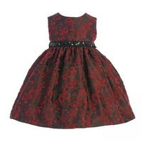 Crayon Kids Baby Girls Red Black Floral Sequined Belt Christmas Dress 18M