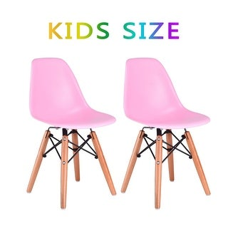 Kids Dining Chair Set Wood Dowel Legs Molded ABS Plastic Seat armless Pink