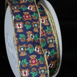 "Brilliant Navy Blue Cotton Print Holiday Bear Wired Craft Ribbon 2"" x 20 Yards"