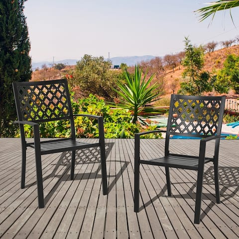 NUU GARDEN Wrought Iron Stacking Patio Dining Chairs (Set of 2)