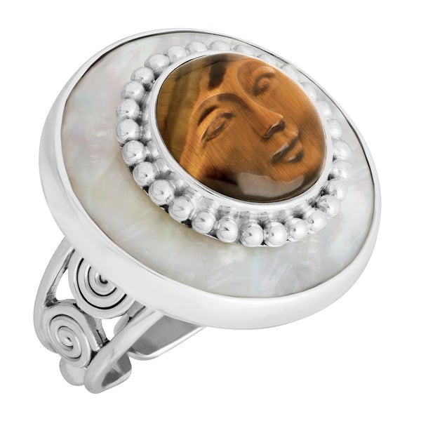 Sajen Carved Natural Tiger's Eye & Mother-of-Pearl Goddess Ring in Sterling Silver