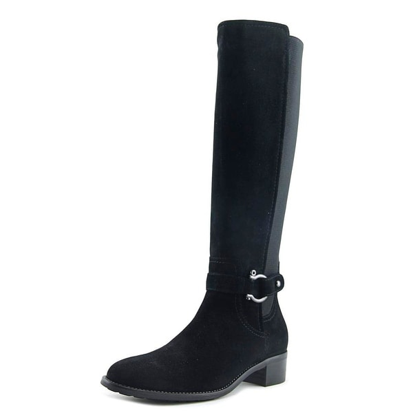 Aquatalia By Marvin K Cearra Women Round Toe Suede Black Knee High Boot