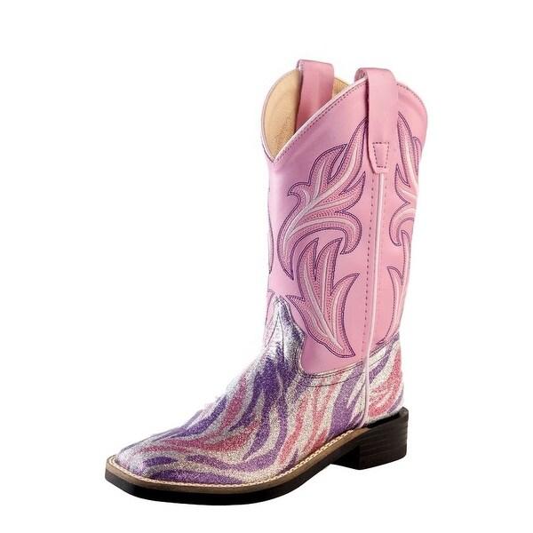 0b57df61304 Old West Cowboy Boots Girls Kids Zipper Round Toe Purple Pink