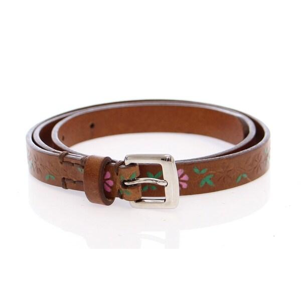 Dolce & Gabbana Brown Leather Floral Logo Belt