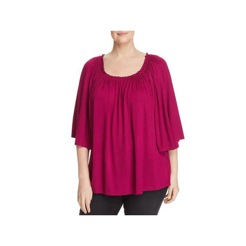 Cupio Womens Plus Pullover Top Shirred Flare Sleeves