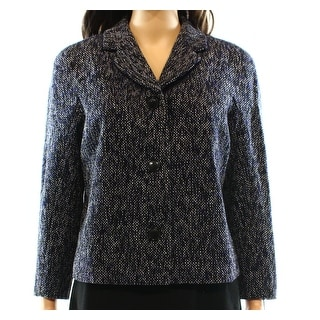 Tommy Hilfiger NEW Blue Women's Size 10 Cropped Tweed Notched Coat