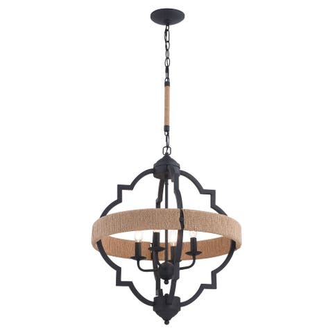Beaumont Gray and Natural Rope Farmhouse Cage Pendant Light