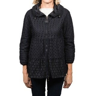 Moncler Etain Tonal Embroidered Hooded Jacket Navy Women's